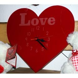 Reloj de metacrilato con forma de corazón grabado