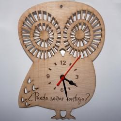 Reloj de madera búho