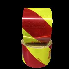 Cinta de Señalización  Reflectante Amarillo fluor y rojo 14 cm-rollo 45,72 m