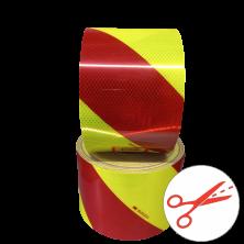 Cinta de Señalización  Reflectante Amarillo fluor y rojo 14 cm al corte